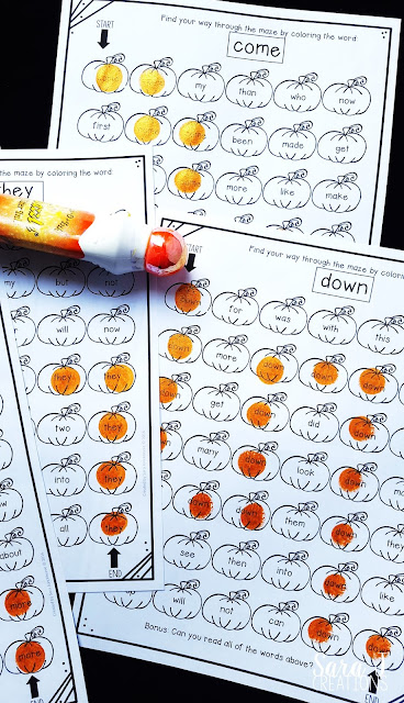 FREE sight word practice worksheets with a pumpkin theme!