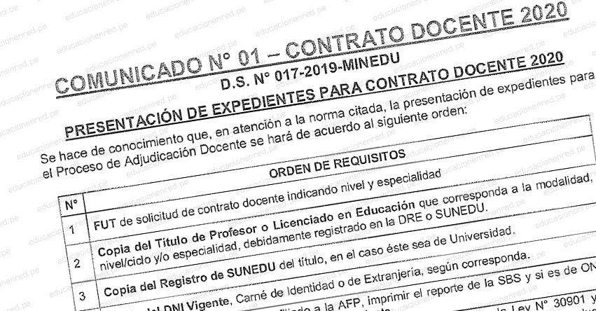 CONTRATO DOCENTE 2020: Sepa cómo presentar el expediente para contratación (Orden y Requisitos)