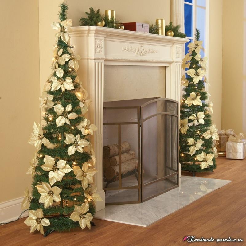 Пуансеттия в новогоднем и рождественском интерьере (6)