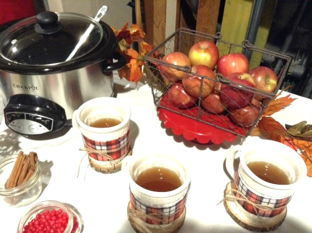 Hot cider bar behind the scenes at a tv station