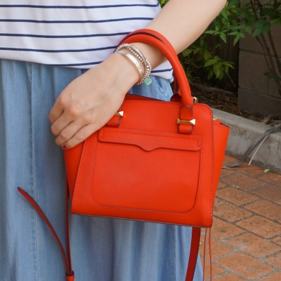 chrambray maxi skirt and rebecca minkoff mini avery tote bag in red gold hardware | away from the blue