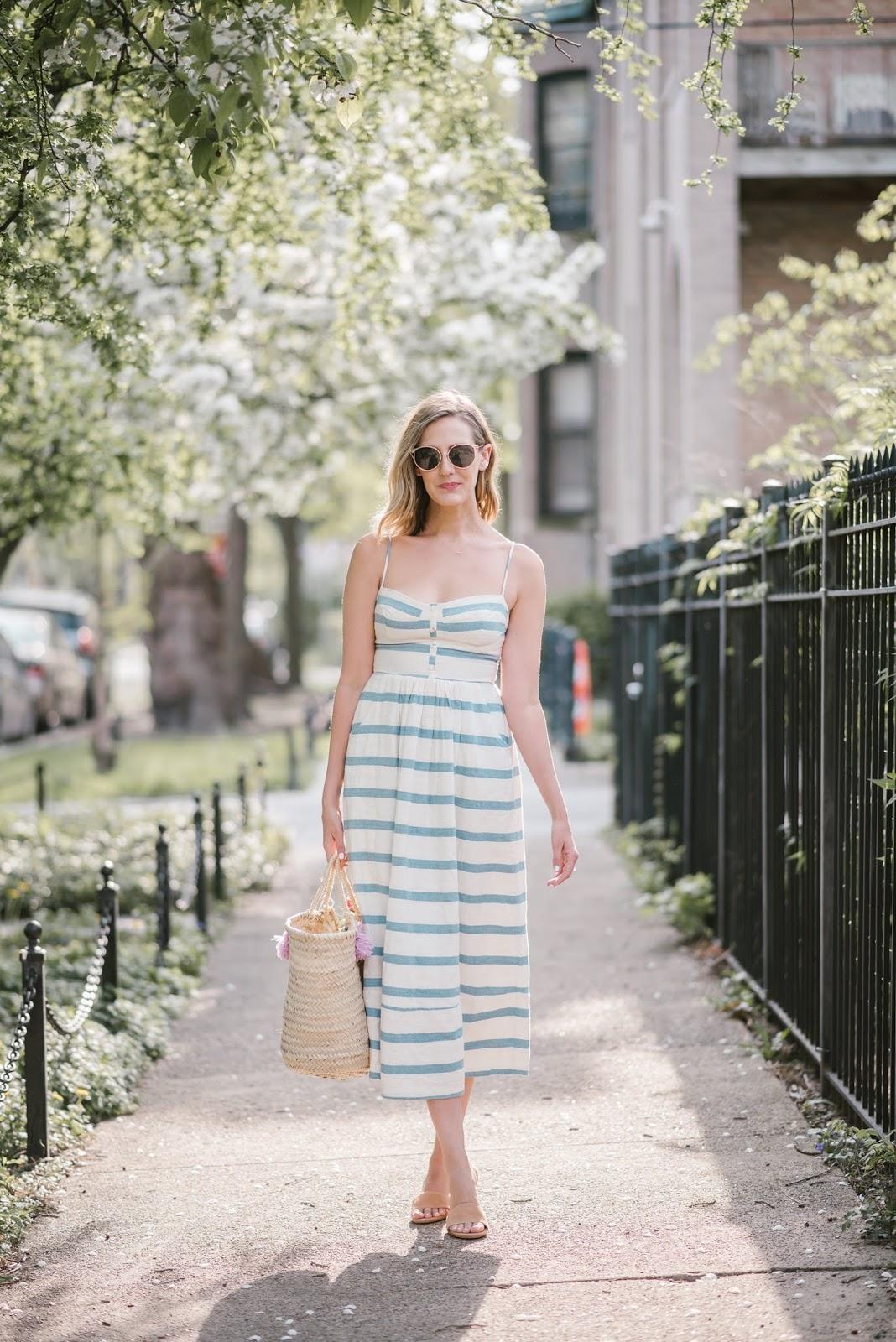 Eliza gran bag striped midi dress