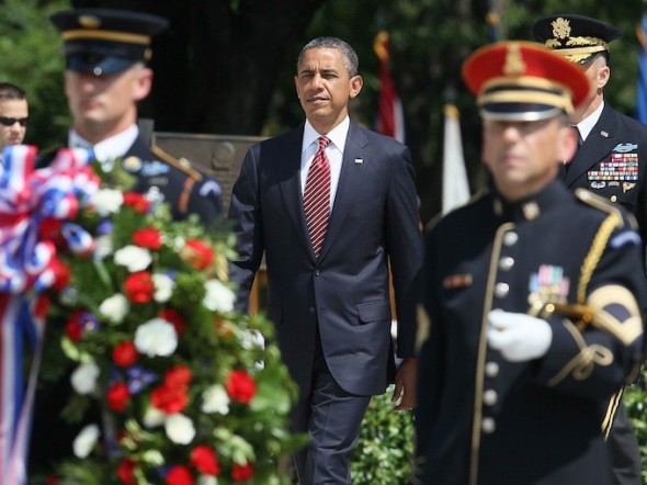 President Obama lays a commemorative wreath during Memorial Day ceremony at the Tomb of the Unknowns at Arlington National Cemetery, May 28, 2012 in Arlington, Virginia. Photo by Mark Wilson / Getty Images.