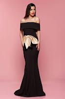 Rochie de seara Artista neagra cu accesoriu in forma de fundita