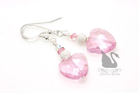 Adoring Love Pink Heart Crystal Beaded Earrings (E284-P)