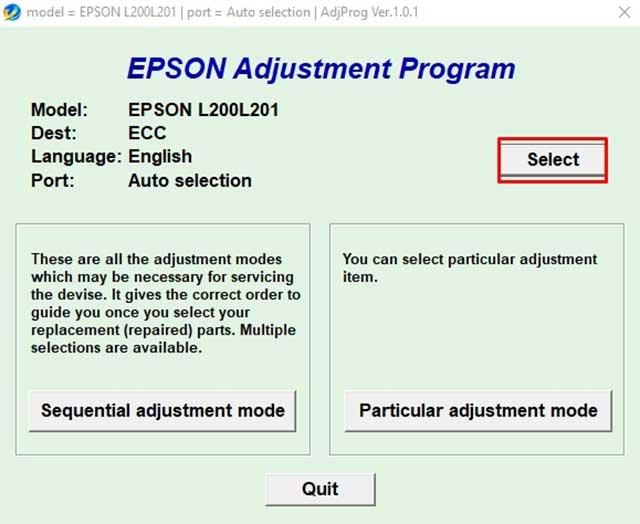 seleccionar el modelo impresora epson l200 y L201