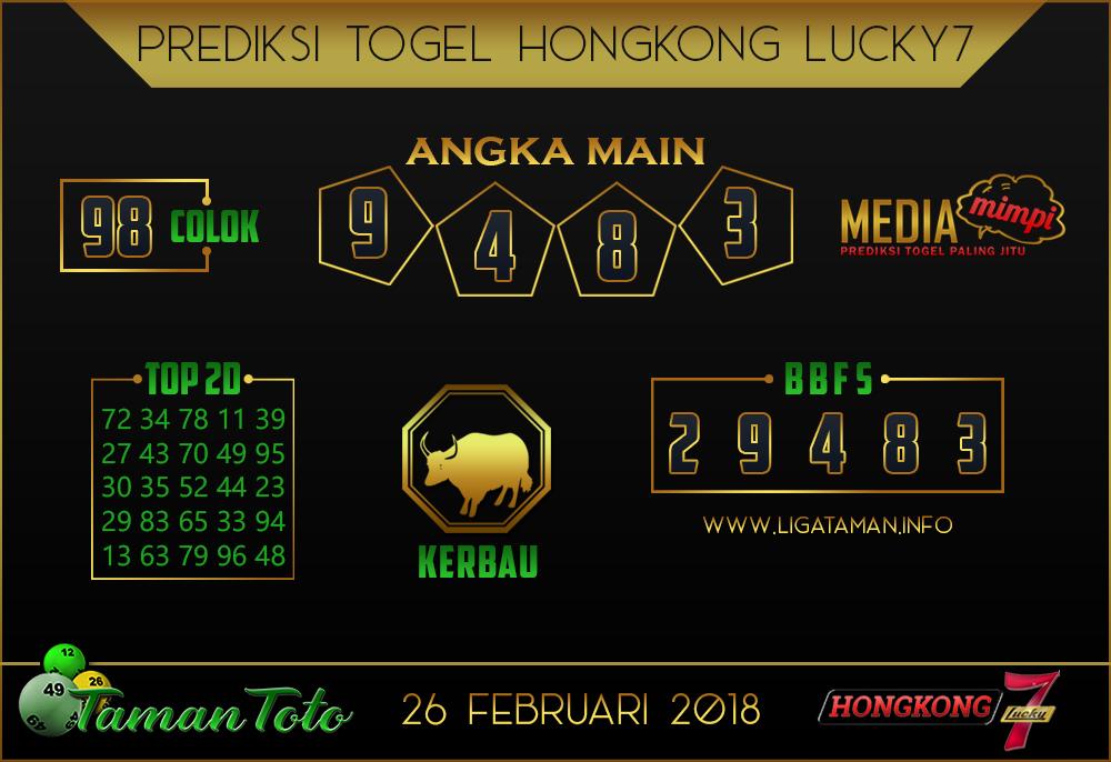 Prediksi Togel HONGKONG LUCKY 7 TAMAN TOTO 26 FEBRUARI 2019