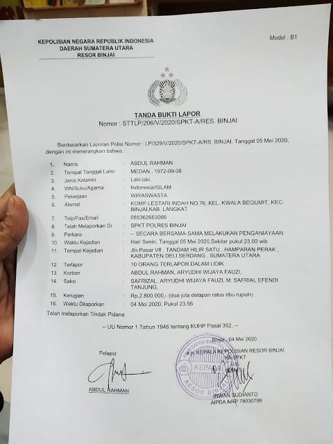 Laporan polisi oleh anggota FPI kota Binjai
