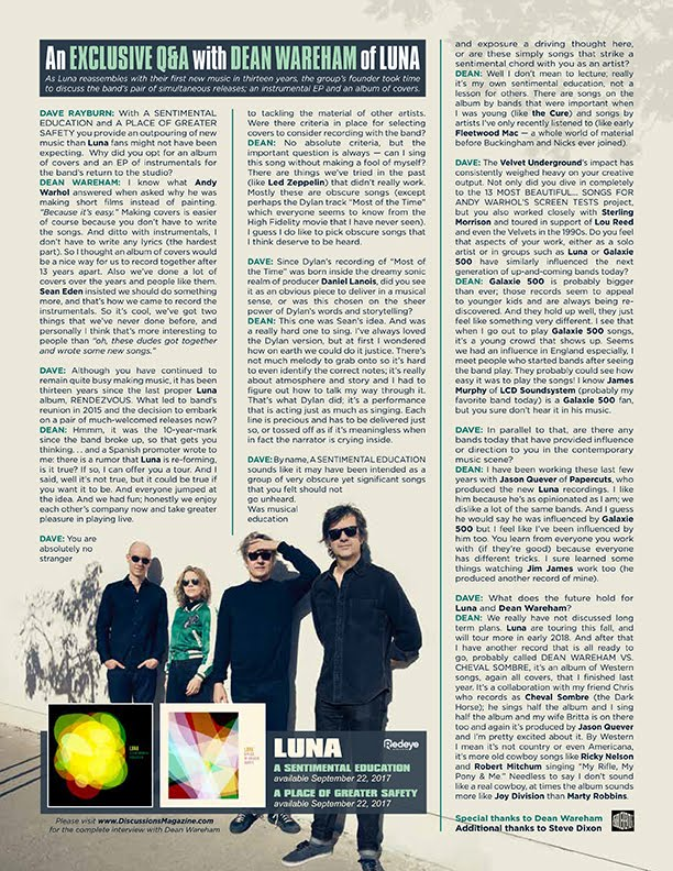 Discussions Magazine Music Blog: An EXCLUSIVE Q&A with DEAN WAREHAM
