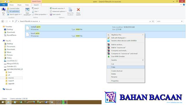 Menyalin install.wim dan boot.wim dari folder sumber di USB stick Anda ke folder wim