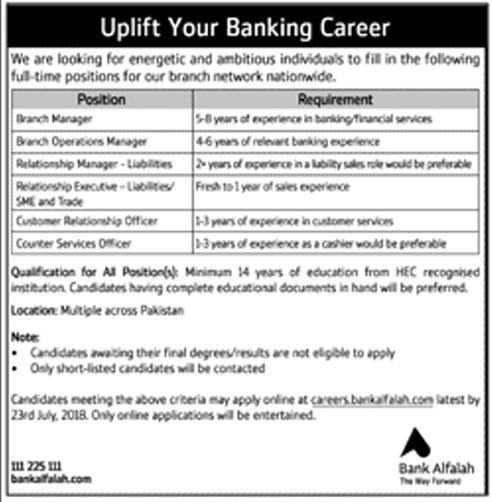 Bank Alfalah Jobs 2018 Apply Online - Naya Pakistan