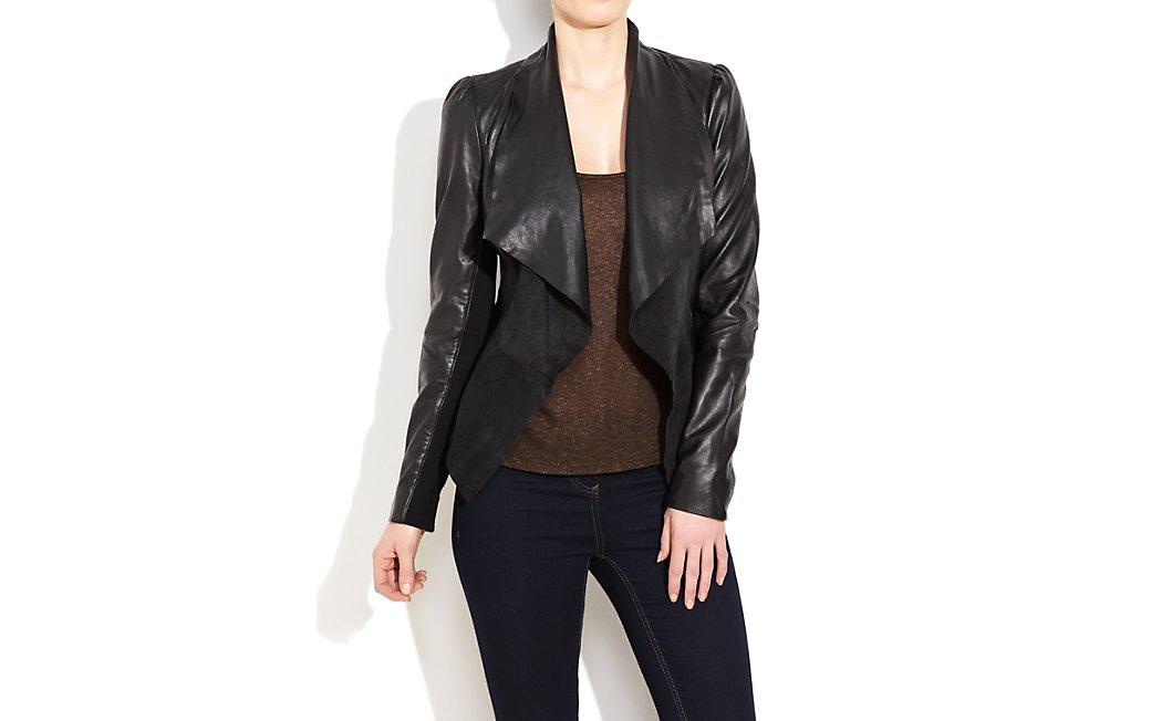 Black Leather Look Waterfall Jacket Famous Waterfall 2018