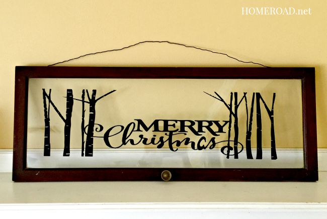 vintage window with Merry Christmas vinyl sticker