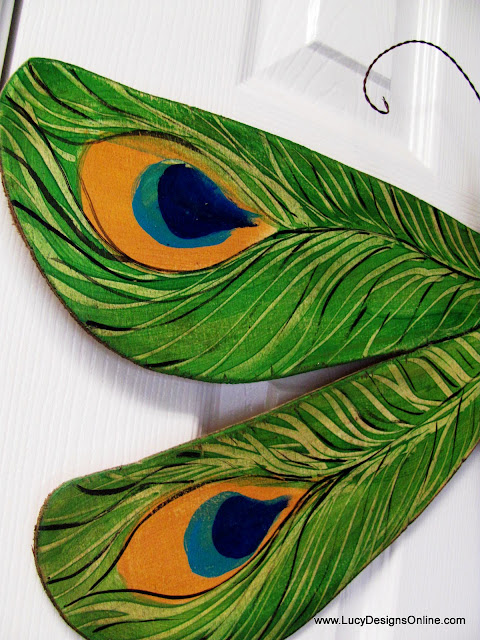 hand painted peacock feather