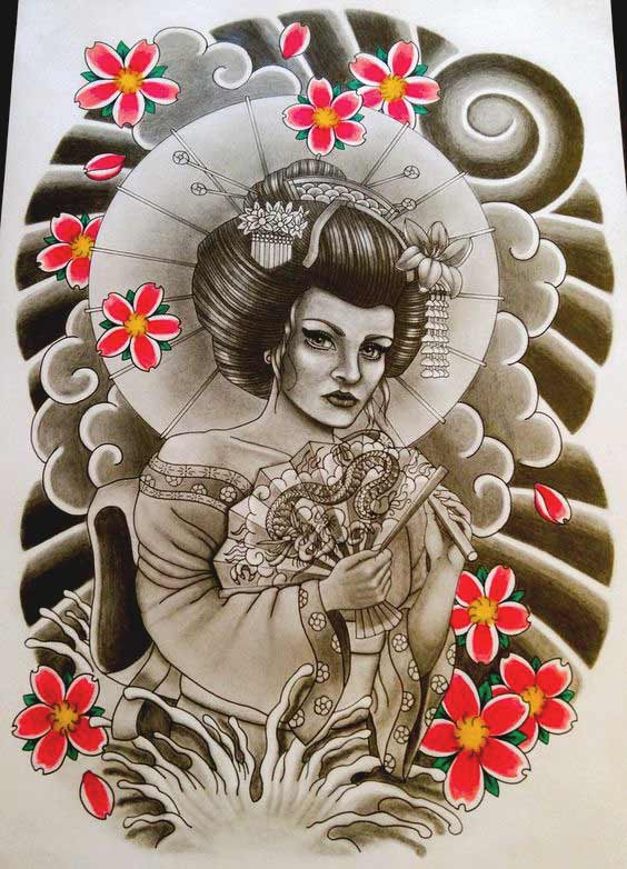 Geisha lady tattoo designs pictures for full back