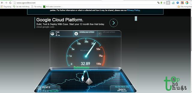 Kiểm tra tốc độ mạng bằng Speedtest