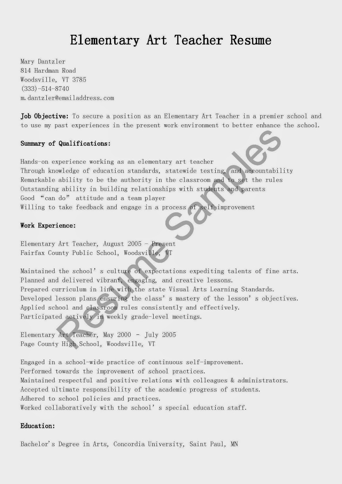 Resume Samples Elementary Art Teacher Resume Sample