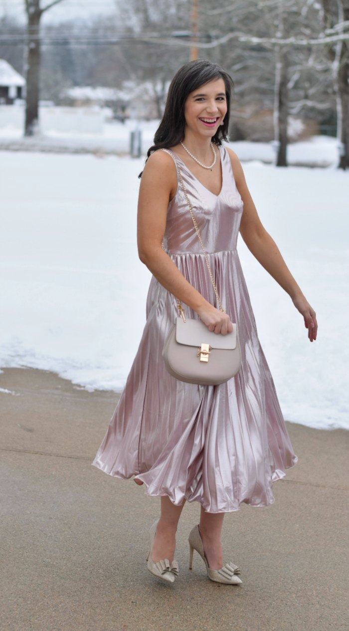 Rose Gold Pleated Metallic Dress Valentine Outfit