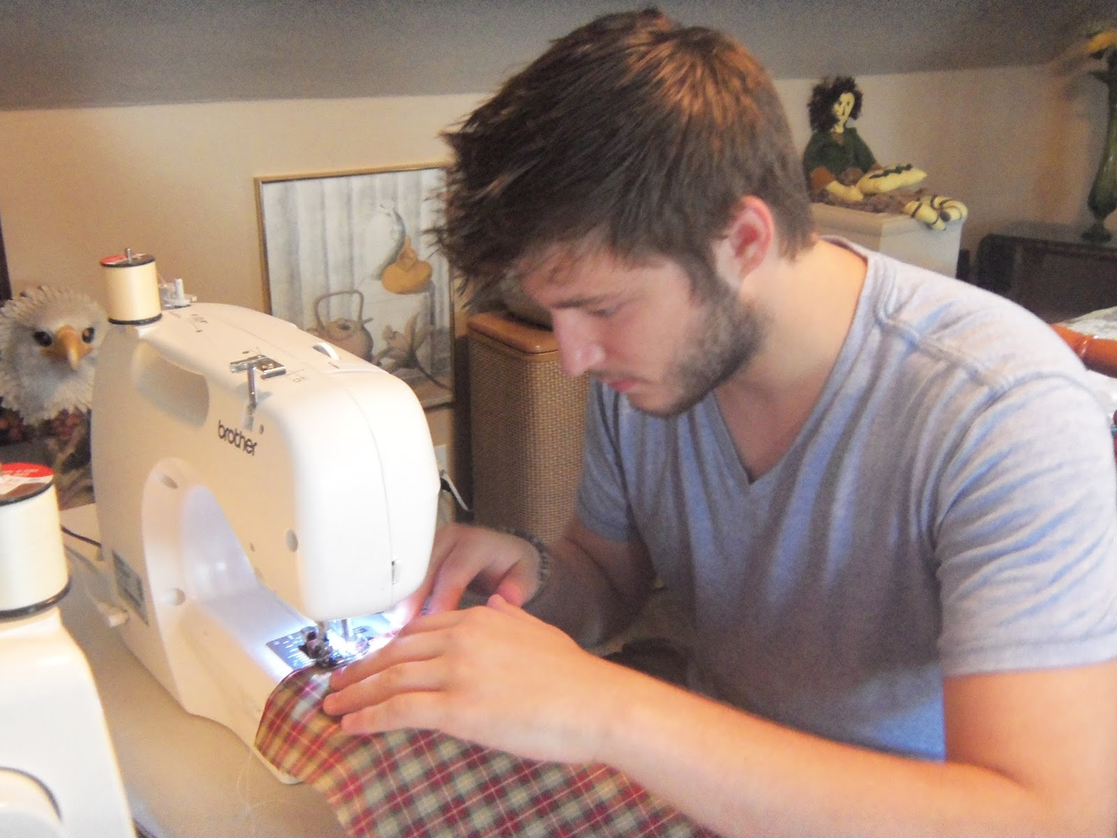 My boyfriend sewing for the first time