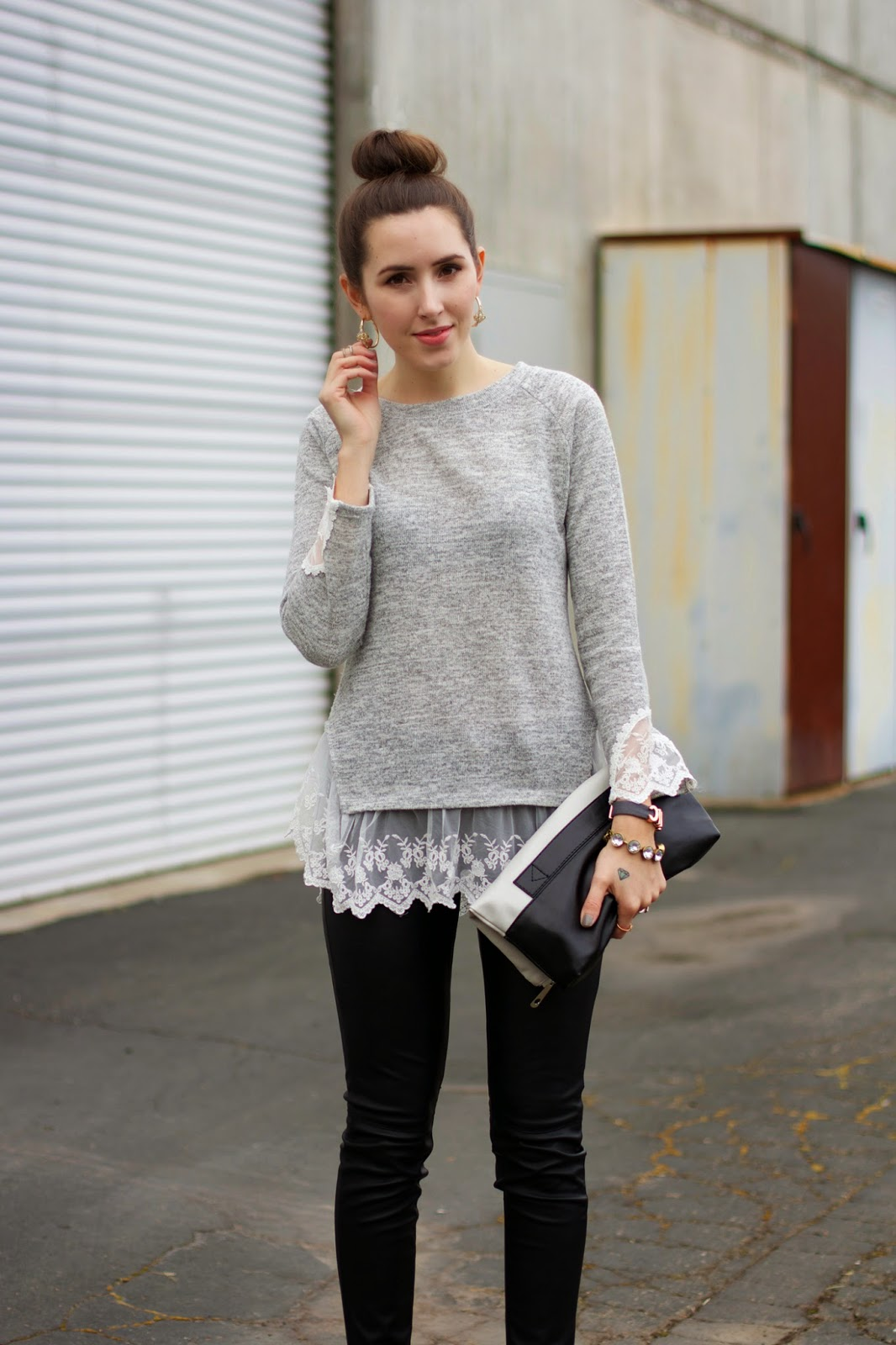 grey-sweater-with-lace-detail-and-leather-pants