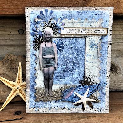 Sara Emily Barker http://sarascloset1.blogspot.com/ One Last Beach Day Shabby Card #timholtz #sizzixalterations #stampersanonymous #rangerdistress 1