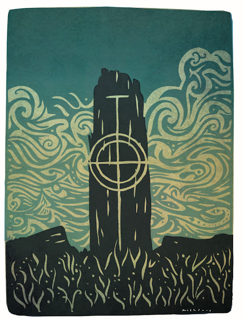 'Crois Chéasta Chill Rialaig 1' Carved early Irish Christian stone. Print by Kevin McSherry