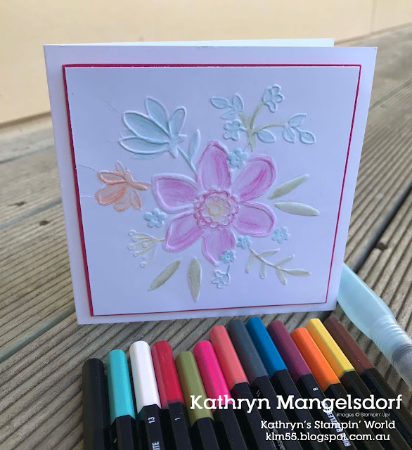 Stampin' Up!  Lovely Floral Dynamic Textured Impressions Embossing Folder, Watercolor Pencils created by Kathryn Mangelsdorf