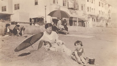 John Jr, Bob, and woman at New York beach about 1921 from album of Mary Theresa Sheehan Killeen Walsh