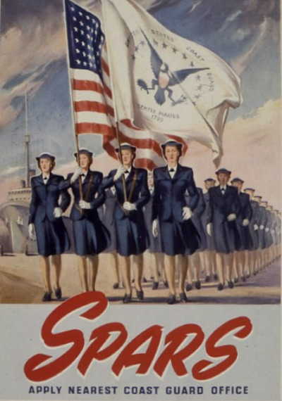 Recruitment Ad for SPARS enlistees with women in uniform holding large US flag
