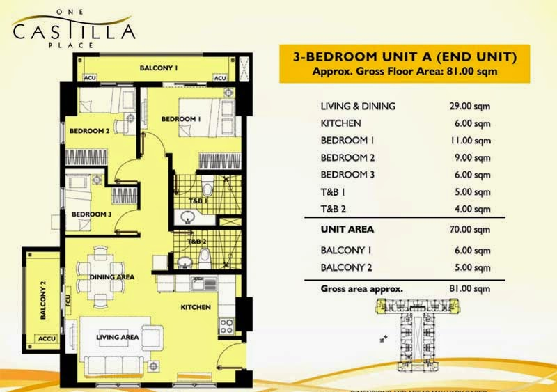 One Castilla Place 3 Bedroom Unit-A
