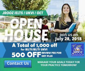JROOZ IELTS/UKVI/OET One Day Promo  Join us on July 28, 2018   Free IELTS / IELTS UKVI / OET Orientation  IELTS: – 500 Off on Review Fee and Exam Fee A total of 1000 Off for IELTS/IELTS UKVI  OET: – 500 Off on Review Fee for OET plus – Receive free assistance in exam registration and – 50% Reimbursement Fee for OET exam coming from our Partner Recruitment Agencies (OFFER IS EXCLUSIVE TO JROOZ STUDENTS)