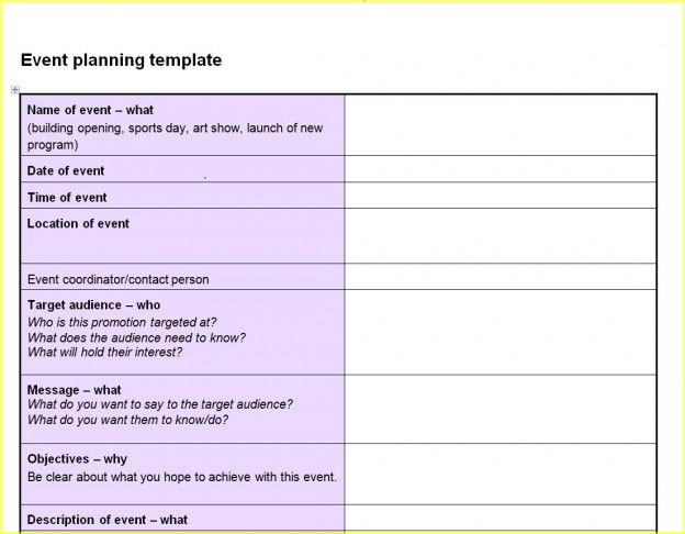 Event Planning Template Free – Event Planning Proposal