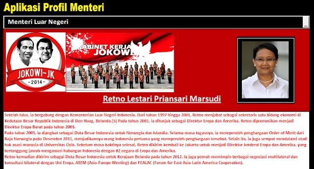 Aplikasi Kabinet Jokowi Untuk Media Pembelajaran Dan Mengetahui Profil Menteri