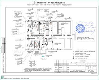 Проект стоматологического центра. Технологические решения - План с расстановкой оборудования