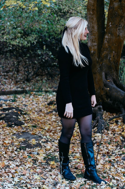CityFashionGirl (Brianna de Gaston) full body outfit fashion wearing a black turtleneck sweater dress, black tights, and black Tory Burch boots with the Utah Autumn scenery before she moves to Singapore