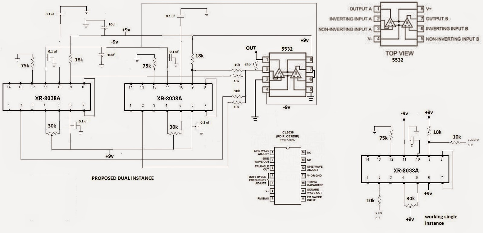 Schematic 8038 Function Generator Circuit Automotivecircuit Diagram Comvt Fraquency Signal