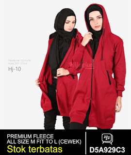 jaket muslimah panjang lutut merah