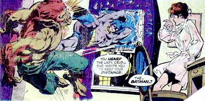 Batman #255, Batman smashes in through the apartment window of a young woman, and boots a werewolf in the face, art by Neal Adams