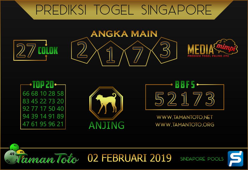 Prediksi Togel SINGAPORE TAMAN TOTO 02 FEBRUARI 2019
