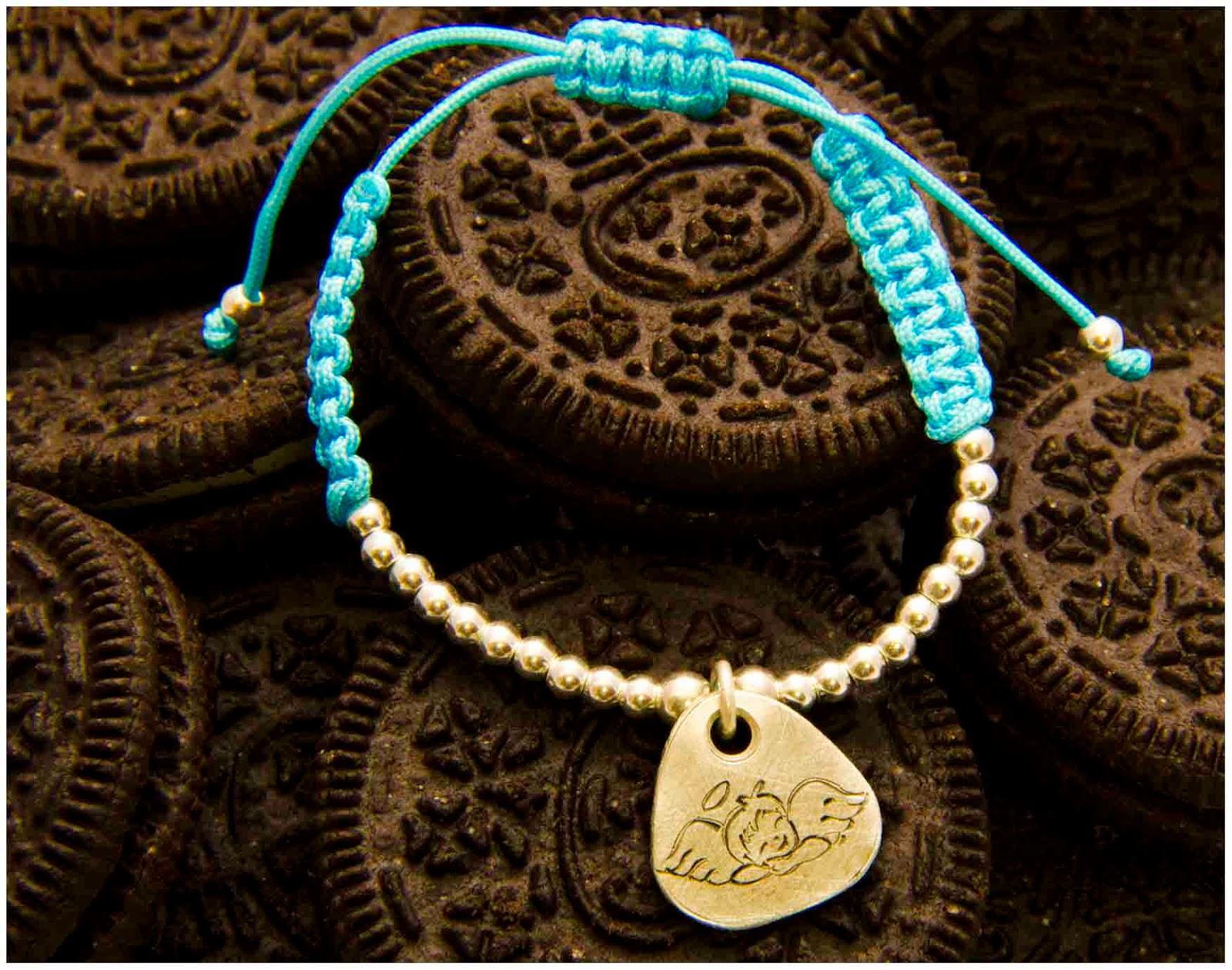 Pulsera de plata medalla Angel artesanal, 1º comunión, personalizada, complementos, regalos