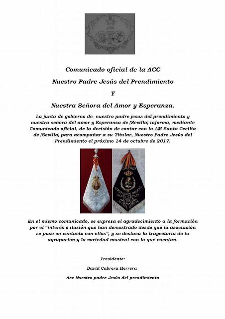 Comunicado oficial de la A.C.C. Nuestro Padre Jesus del Prendimiento y Nuestra Señora del Amor y esperanza de Sevilla del Distrito de la Macarena