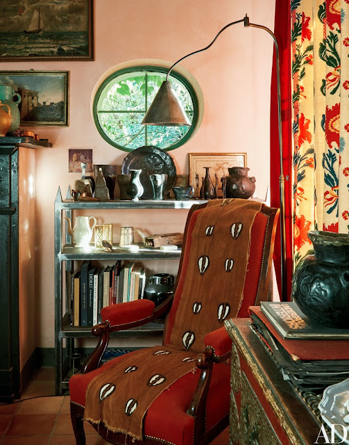 Colorful art filled room in farmhouse of Oberto Gili in northwest Italy