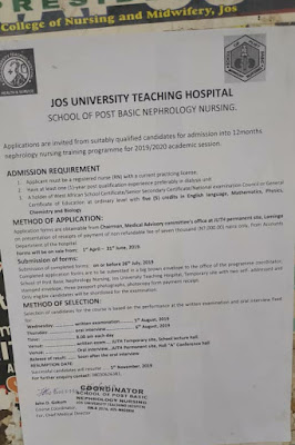 Admission Form Into School Of Post Basic Nephrology Nursing, Jos University Teaching Hospital Is Out