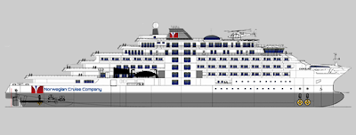 Artists Rendering of Norwegian Cruise Company - Nordic Cruise Company New Mega-Yacht.
