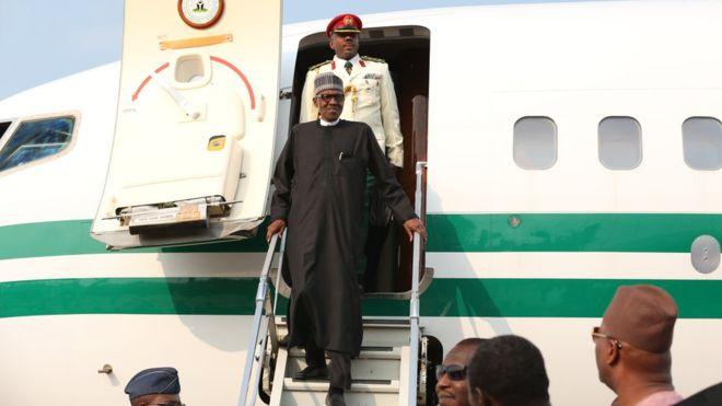 Nigerian President Muhammadu Buhari returns from UK