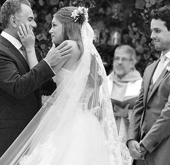 Marina Rui Barbosa e pai no casamento