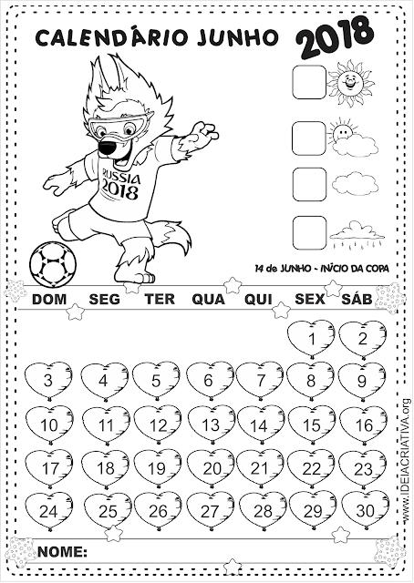Calendários Junho COM e SEM numeração para imprimir Copa 2018 ZABIVAKA