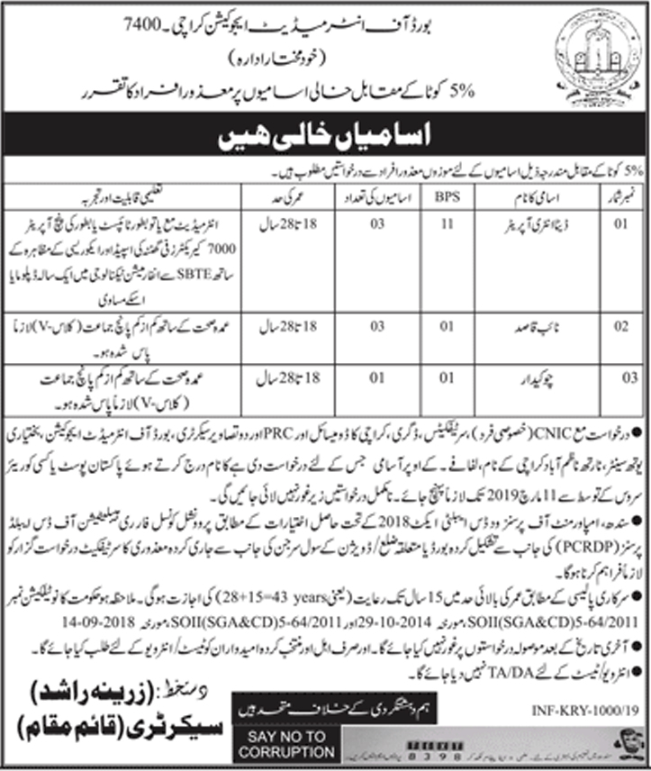 Advertisement for Education Department Sindh Jobs