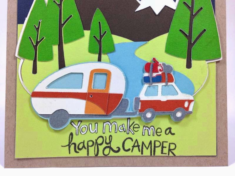Cricut You make me a happy camper card closeup