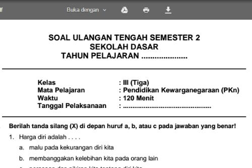 Soal Latihan Uts Pkn Kelas 3 Sd Mi Semester 2 Sekolahdasar Net